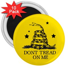 Gadsden Flag Don t Tread On Me Yellow And Black Pattern With American Stars 3  Magnets (10 Pack)