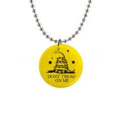 Gadsden Flag Don t Tread On Me Yellow And Black Pattern With American Stars 1  Button Necklace