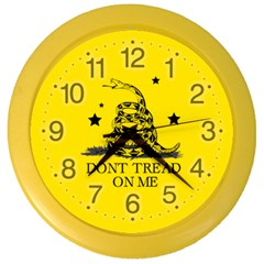 Gadsden Flag Don t Tread On Me Yellow And Black Pattern With American Stars Color Wall Clock