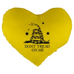 Gadsden Flag Don t Tread On Me Yellow And Black Pattern With American Stars Large 19  Premium Heart Shape Cushions