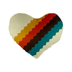 Retro Colors Palette Standard 16  Premium Flano Heart Shape Cushions