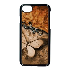 Wonderful Floral Design With Butterflies Iphone 7 Seamless Case (black) by FantasyWorld7