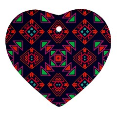 Rhombus Squares And Triangle                                                  Ornament (heart) by LalyLauraFLM