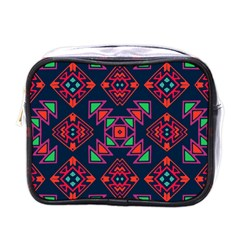 Rhombus Squares And Triangle                                                  Mini Toiletries Bag (one Side) by LalyLauraFLM