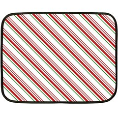 White Candy Cane Pattern With Red And Thin Green Festive Christmas Stripes Fleece Blanket (mini) by genx