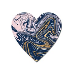 Blue And Gold Marble Heart Magnet by goljakoff