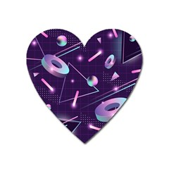 Retrowave Aesthetic Vaporwave Retro Memphis Pattern 80s Design Geometrical Shapes Futurist Pink Blue 3d Heart Magnet by genx