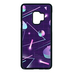 Retrowave Aesthetic Vaporwave Retro Memphis Pattern 80s Design Geometrical Shapes Futurist Pink Blue 3d Samsung Galaxy S9 Seamless Case(black) by genx