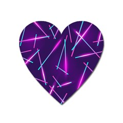 Retrowave Aesthetic Vaporwave Retro Memphis Pattern 80s Design Geometric Shapes Futurist Purple Pink Blue Neon Light Heart Magnet by genx