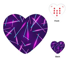Retrowave Aesthetic Vaporwave Retro Memphis Pattern 80s Design Geometric Shapes Futurist Purple Pink Blue Neon Light Playing Cards Single Design (heart) by genx