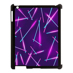 Retrowave Aesthetic Vaporwave Retro Memphis Pattern 80s Design Geometric Shapes Futurist Purple Pink Blue Neon Light Apple Ipad 3/4 Case (black) by genx