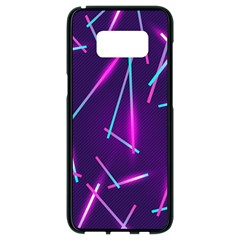 Retrowave Aesthetic Vaporwave Retro Memphis Pattern 80s Design Geometric Shapes Futurist Purple Pink Blue Neon Light Samsung Galaxy S8 Black Seamless Case by genx
