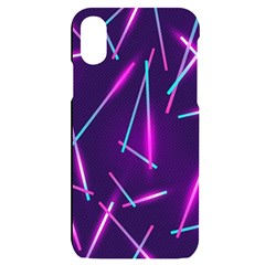 Retrowave Aesthetic Vaporwave Retro Memphis Pattern 80s Design Geometric Shapes Futurist Purple Pink Blue Neon Light Iphone X/xs Black Uv Print Case by genx