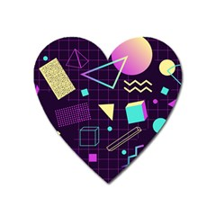 Retrowave Aesthetic Vaporwave Retro Memphis Pattern 80s Design 3d Geometric Shapes Heart Magnet by genx