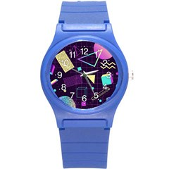 Retrowave Aesthetic Vaporwave Retro Memphis Pattern 80s Design 3d Geometric Shapes Round Plastic Sport Watch (s) by genx