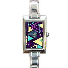 Retrowave Aesthetic Vaporwave Retro Memphis Triangle Pattern 80s Yellow Turquoise Purple Rectangle Italian Charm Watch by genx