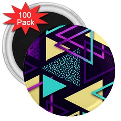 Retrowave Aesthetic Vaporwave Retro Memphis Triangle Pattern 80s Yellow Turquoise Purple 3  Magnets (100 Pack) by genx