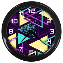 Retrowave Aesthetic Vaporwave Retro Memphis Triangle Pattern 80s Yellow Turquoise Purple Wall Clock (black) by genx