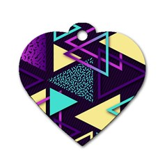 Retrowave Aesthetic Vaporwave Retro Memphis Triangle Pattern 80s Yellow Turquoise Purple Dog Tag Heart (two Sides) by genx