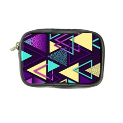 Retrowave Aesthetic Vaporwave Retro Memphis Triangle Pattern 80s Yellow Turquoise Purple Coin Purse by genx