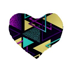Retrowave Aesthetic Vaporwave Retro Memphis Triangle Pattern 80s Yellow Turquoise Purple Standard 16  Premium Heart Shape Cushions by genx