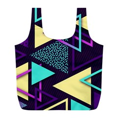 Retrowave Aesthetic Vaporwave Retro Memphis Triangle Pattern 80s Yellow Turquoise Purple Full Print Recycle Bag (l) by genx