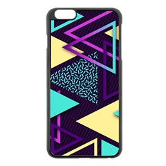 Retrowave Aesthetic Vaporwave Retro Memphis Triangle Pattern 80s Yellow Turquoise Purple Iphone 6 Plus/6s Plus Black Enamel Case by genx