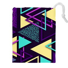 Retrowave Aesthetic Vaporwave Retro Memphis Triangle Pattern 80s Yellow Turquoise Purple Drawstring Pouch (2xl) by genx