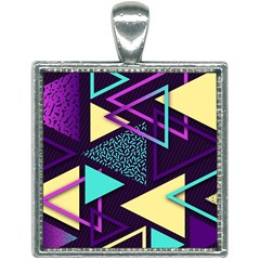 Retrowave Aesthetic Vaporwave Retro Memphis Triangle Pattern 80s Yellow Turquoise Purple Square Necklace by genx