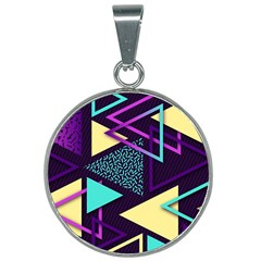 Retrowave Aesthetic Vaporwave Retro Memphis Triangle Pattern 80s Yellow Turquoise Purple 25mm Round Necklace by genx