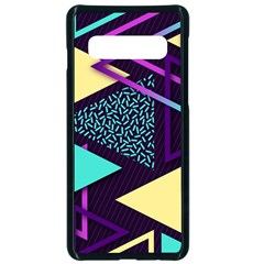 Retrowave Aesthetic Vaporwave Retro Memphis Triangle Pattern 80s Yellow Turquoise Purple Samsung Galaxy S10 Seamless Case(black) by genx