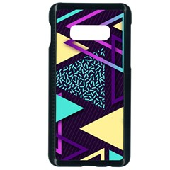 Retrowave Aesthetic Vaporwave Retro Memphis Triangle Pattern 80s Yellow Turquoise Purple Samsung Galaxy S10e Seamless Case (black) by genx