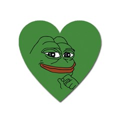 Pepe The Frog Smug Face With Smile And Hand On Chin Meme Kekistan All Over Print Green Heart Magnet by snek