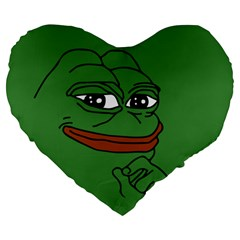 Pepe The Frog Smug Face With Smile And Hand On Chin Meme Kekistan All Over Print Green Large 19  Premium Heart Shape Cushions by snek