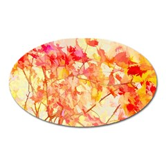 Monotype Art Pattern Leaves Colored Autumn Oval Magnet by Amaryn4rt