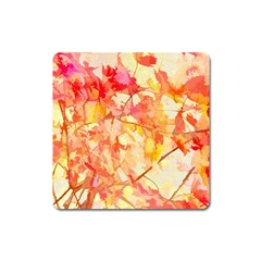 Monotype Art Pattern Leaves Colored Autumn Square Magnet by Amaryn4rt