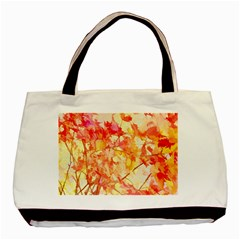 Monotype Art Pattern Leaves Colored Autumn Basic Tote Bag (two Sides) by Amaryn4rt