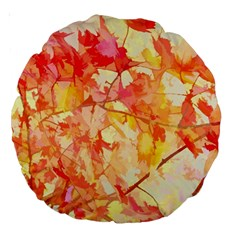 Monotype Art Pattern Leaves Colored Autumn Large 18  Premium Round Cushions by Amaryn4rt