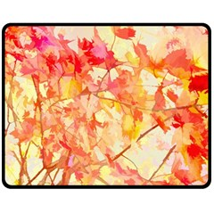 Monotype Art Pattern Leaves Colored Autumn Double Sided Fleece Blanket (medium)  by Amaryn4rt