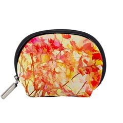 Monotype Art Pattern Leaves Colored Autumn Accessory Pouch (small) by Amaryn4rt