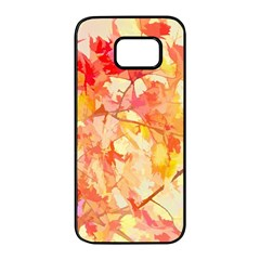 Monotype Art Pattern Leaves Colored Autumn Samsung Galaxy S7 Edge Black Seamless Case