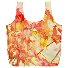Monotype Art Pattern Leaves Colored Autumn Full Print Recycle Bag (xxl)
