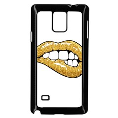 Gold Glitter Lips Samsung Galaxy Note 4 Case (black) by goljakoff