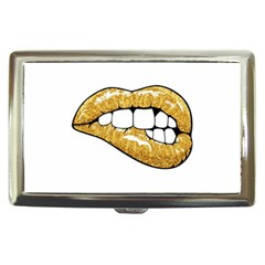 Gold Glitter Lips Cigarette Money Case by goljakoff