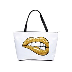 Gold Glitter Lips Classic Shoulder Handbag by goljakoff
