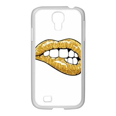 Gold Glitter Lips Samsung Galaxy S4 I9500/ I9505 Case (white) by goljakoff