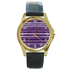 Bandes Peinture Violet  Round Gold Metal Watch by kcreatif