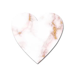 Pink And White Marble Texture With Gold Intrusions Pale Rose Background Heart Magnet by genx