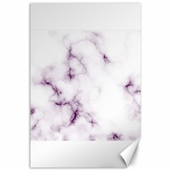 White Marble Violet Purple Veins Accents Texture Printed Floor Background Luxury Canvas 24  X 36  by genx