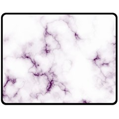 White Marble Violet Purple Veins Accents Texture Printed Floor Background Luxury Double Sided Fleece Blanket (medium)  by genx